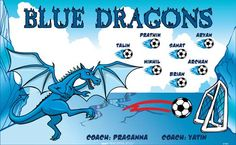 Dragons-Blue-47481  digitally printed vinyl soccer sports team banner. Made in the USA and shipped fast by BannersUSA. www.bannersusa.com