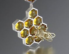 SWEETER THAN HONEY silver and 14k gold honeycomb and bee pendant with citrine and white sapphires - Ready to ship