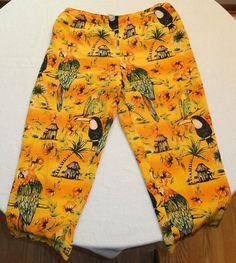Maggy L 100% Silk Tropical Capri Pants Capri Orange Sz 14P Petite Parrots Flowe #MaggyL #CaprisCropped