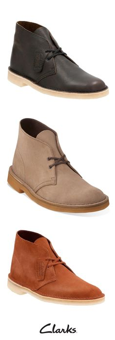 Clarks Desert Boot is a classic. Inspired by boots worn by British officers in World War II, these shoes are made with natural materials including wolf suede. This timeless style is comfortable and trendy, and is the perfect addition to your men's fall wardrobe.