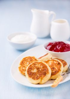 Cottage cheese pancakes with currant jam by BeKaphoto