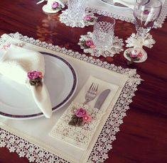 Items similar to MADE TO ORDER Placemat - Coaster - Napkin - Napkin ring - Pouch with lace and crochet design - Table decor - Dining - Wedding on Etsy Napkin Folding, Mug Rugs, Decoration Table, Napkins Set, Crochet Designs, Table Linens, Napkin Rings, Diy And Crafts, Sewing Projects