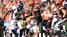 CLEVELAND, OH - OCTOBER 18: Quarterback Josh McCown #13 of the Cleveland Browns is pressured by defensive end Malik Jackson #97 of the Denver Broncos during the second quarter at Cleveland Browns Stadium on October 18, 2015 in Cleveland, Ohio. (Photo by Andrew Weber/Getty Images)