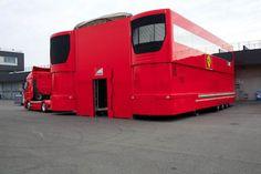 In the market for a motorhome? Slightly used, but still smells of Michael Schumacher. Custom Trailers, Trailers For Sale, Motorhome, Single Trailer, F1 Motor, Motor Sport, Ferrari F1, Ferrari Scuderia, Trailer Build