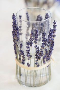 candleholders lined in dried lavender wedding centerpices ideas
