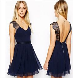 Wholesale Backless Solid Strap Chiffon Sexy Summer Dress For Women Nightclub Dress with Lace SQ159
