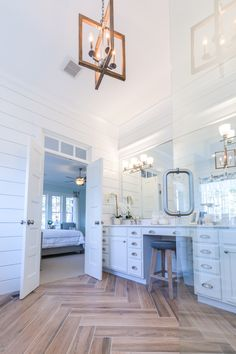 Turnbury chandelier, Lucky bath & vanity shown | Stephen Alexander Homes, Susan Wilson Interiors