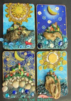 #wood #postacards size #mosaic in #mixedmedia and #natural materials , see more on my fb page https://www.facebook.com/pages/Silvia-Logi-Artworks/121475337893535?fref=ts