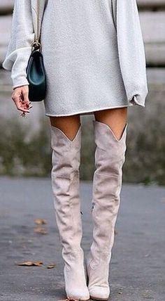#winter #fashion / cream + gray