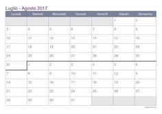 Risultati immagini per luglio agosto 2017 calendario