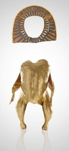 A chicken dressed like King Tut