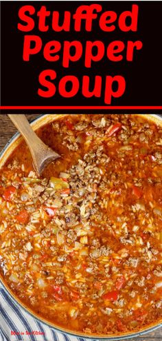 Easy Stuffed Pepper Soup is a hearty dinner that comes together in about 30 minutes. Delicious ground beef, onions and sweet bell peppers in a tomato broth and rice is a filling meal that the entire family will enjoy. Soup Recipes, Dinner Recipes, Cooking Recipes, Recipies, Beef Recipes, Aloo Recipes, Milk Recipes, Copycat Recipes, Casserole Recipes
