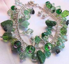 Green Crystal Bead Lampwork & Czech Glass by AngelRoseDesign, $45.00