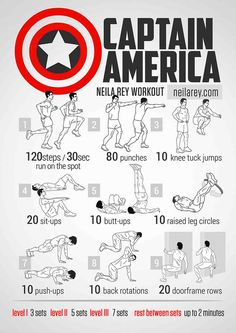 Superhero Bodyweight Workouts It's important to switch your bodyweight workouts up. Not only does it make the workout more fun, but also challenges your body in different ways. Here is a further collection of Superhero Bodyweight workouts:   Batman Bodyweight Workout Here's the Batman Bodyweight Workout: Avenger Workout: Here's the Avenger Bodyweight Workout: < Asked