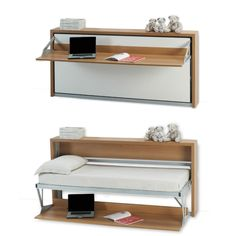 Space saving hidden wall bed Singapore transforms from desk Twin Wall Bed, Bed Wall, Murphy Bed Desk, Murphy Bed Plans, Desk Bed, Murphy Beds, Murphy-bett Ikea, Hideaway Bed, One Room Apartment
