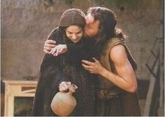 "Movie ""The Passion of The Christ"" - Jesus kisses his mother Mary after she dismisses his tall table, its not for her generation"