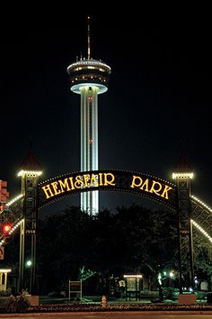 Hemisfair Park and the Tower of Americas in San Antonio Texas. This is where the World Fair was in 1968 and the Tower was the theme structure. - I walked through the park when I was San Antonio in 2009 San Antonio Vacation, San Antonio Riverwalk, Only In Texas, Texas Vacations, Belly Dancing Classes, Texas Pride, Texas History, Texas Homes, Texas Travel