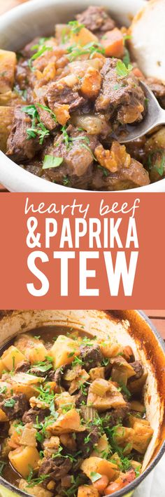 Beef and Paprika Stew - Hearty, cozy and just so easy! A delicious hearty flavor to get you through the cold season! Clean Eating Diet, Clean Eating Recipes, Healthy Eating, Slow Cooker Recipes, Crockpot Recipes, Cooking Recipes, Chili Recipes, Cooking Tips, Plats Weight Watchers