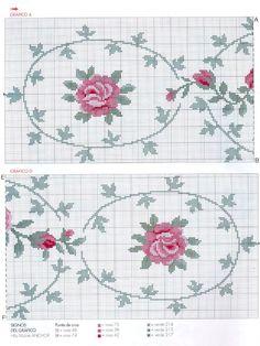 Gráfico de toalha de mesa luxuosa com rosas | MANIA DE BORDAR