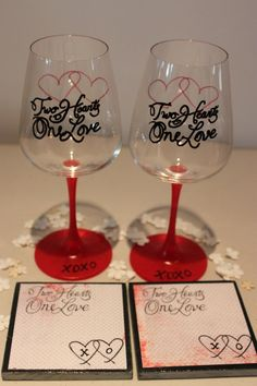 Two Hearts One Love Wine Glasses & Coaster Set by LeGoBoutique, $25.00