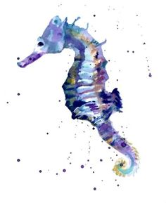 Blue SEAHORSE Print, Best Friend Gift, seahorse painting, seahorse art, beach house decor via Etsy Seahorse Painting, Seahorse Tattoo, Seahorse Art, Seahorses, Colorful Seahorse, Illustrations, Art And Illustration, Aquarell Tattoo, Graphic