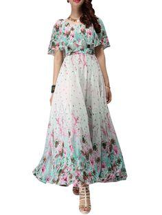 1af29ba3f2dd Floral Print Chiffon Scoop Neck Maxi Dress - Milanoo.com White Floral  Dress