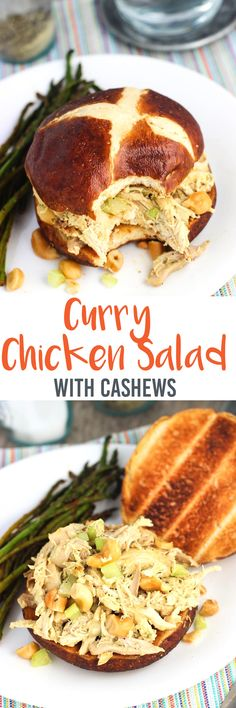 This hint of curry chicken salad with cashews is so easy to make from leftover or rotisserie chicken and is flavored just right!