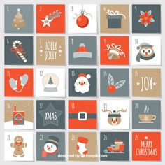 Nice christmas advent calendar Free Vector