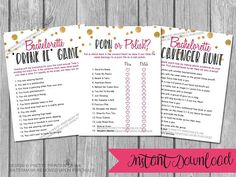 Get everyone in a WILD mood with these bachelorette party games to celebrate the bride-to-bes last fling before the ring!     The bachelorette game bundle includes the following games:   ♥ Bachelorette porn or polish game (answer key included!)   ♥ Bachelorette drink if game   ♥ Bachelorette scavenger hunt     AUTOMATIC DOWNLOAD