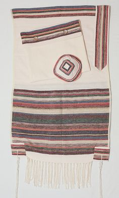 "Handmade cotton Israel Tallit set by the professional weavers of ""Weaving Creation"" Jewish Men, Jewish Gifts, Wedding Prayer, Prayer Shawl, Gold Stripes, Bar Mitzvah, Hand Weaving, Prayers, Pattern"