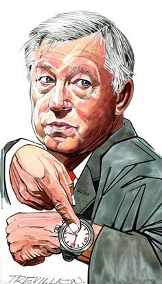 """""""Fergie Time"""" -Sir Alex Ferguson drawn by Trevillion"""