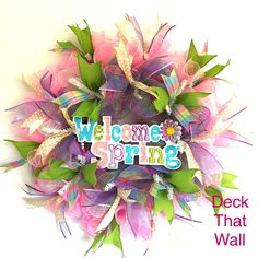 Pink, Purple and Green Spring Mesh Wreath