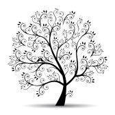 Art tree beautiful, black silhouette stock photography