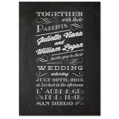 Modern Wedding Invitation Chalkboard Style Weddinginvitation By Papela