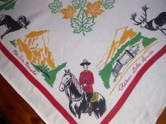 Vintage Canadian Printed Tablecloth - 1950's Great Divide R.C.M.P. Lake Louise Moose Mountains Maple Leaf Native American Print Tablecloth by Colorsforkidsshop on Etsy https://www.etsy.com/ca/listing/529742441/vintage-canadian-printed-tablecloth