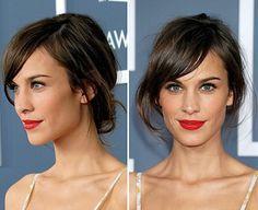 frange a cote couleur marron chatain, couleur de cheveux marron glacé, les tendances chez la coloration de cheveux femme