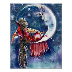 A Very Special Visit by Robin Pushe'e * Witch Moon Fantasy Myth Mythical Mystical Legend Fantasy Kunst, Fantasy Art, Sun Moon Stars, Good Night Moon, Moon Magic, Beautiful Moon, Fairy Art, Moon Art, Moon Moon