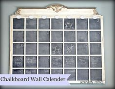 DIY Wall Sized Chalkboard Calender - Inspired by an amazing wall calender that I saw at Thistlewood Farm's blog, and faced with the fact that I don't have acces…