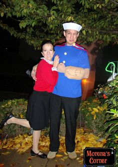 Make your own Popeye and Olive Oyl couples costumes for Halloween.