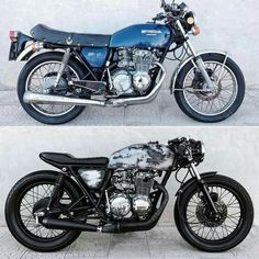 Honda by Before and after. What do you think? - Cafe racer/ brat style/ custom - Before and After Café Racer 125, Gs 500 Cafe Racer, Custom Cafe Racer, Cafe Racer Build, Cb400 Cafe Racer, Suzuki Cafe Racer, Cafe Racer Motorcycle, Moto Bike, Cb 450