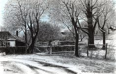 Dust of Snow in Naeni - art print from original ink painting Ink Painting, Snow, Art Prints, Paintings, Outdoor, Etsy, Vintage, Design, Art Impressions