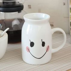 Clay Craft India Cane Smily Face Milk Mug,Mugs Rs.180 Clay Crafts, Bone China, Awesome Stuff, Milk, India, Ceramics, Tableware, Face, Delhi India