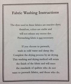 RJR's fabric care instructions