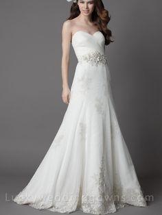 White+Strapless+Chapel+Train+Wedding+Dress+with+Full+A-line+Skirt