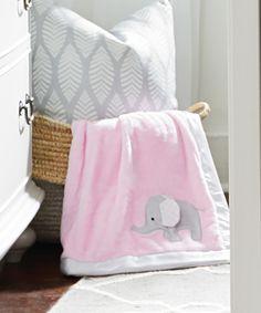 wendy bellissimo nursery bedding girl elephant applique blanket