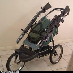Tactical Baby Stroller - Just in case of zombie apocalypse? Apocalypse Des Zombies, Zombie Apocalypse Survival, Zombie Attack, Jogging Stroller, Shtf, Baby Gear, Just In Case, Walking Dead, Baby Strollers
