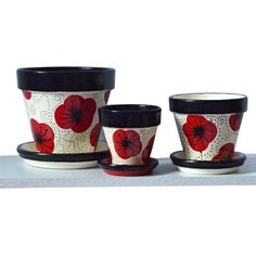 Painted Garden Pot With Red and Black Poppy Whimsical Motif Painted Clay Pots, Painted Flower Pots, Paint Garden Pots, Mosaic Flower Pots, Cute Clay, Terracotta Pots, Whimsical, Planters, Artisan