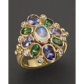 Temple St. Clair 18K Anima Cluster Ring with Royal Blue Moonstone, Tanzanite, Tsavorite and Diamond