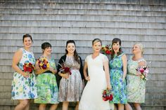 Why keep florals exiled to tables and bouquets? Incorporate a variety of colors with vibrant floral bridesmaid dresses. Patterned Bridesmaid Dresses, Wedding Dresses, Affair, Style Me, Rhode Island, Massachusetts, Bouquets, Pretty, Florals