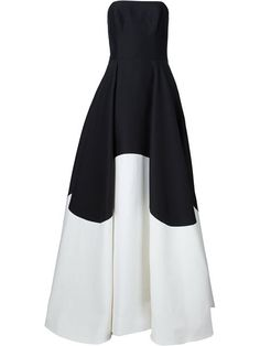 Halston Heritage Zweifarbiges Abendkleid mit schulterfreiem Design